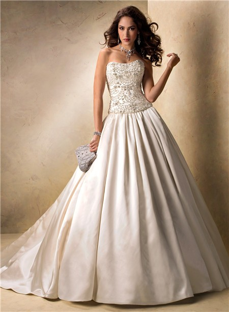Luxury Ball Gown Strapless Champagne Satin Beaded Crystal
