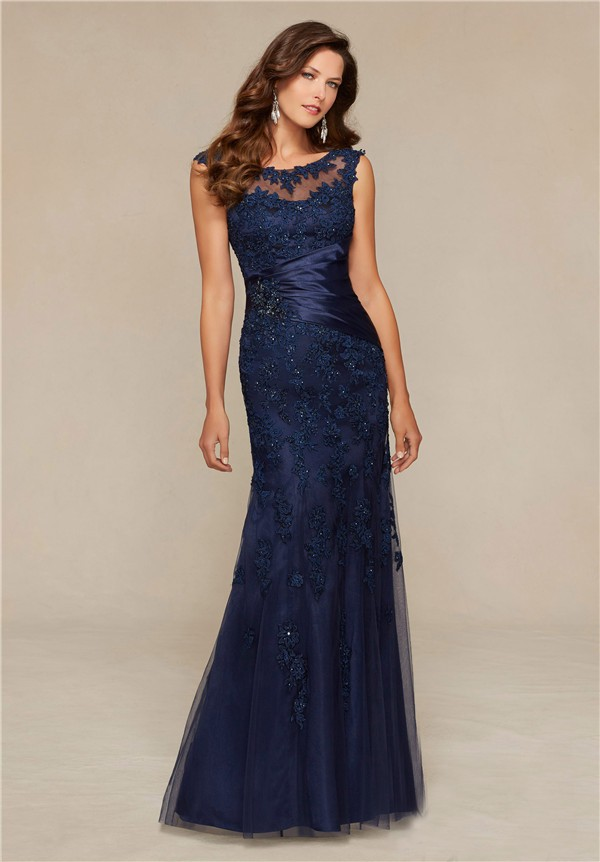 Mermaid Boat Neck Navy Blue Tulle Lace Beaded Special