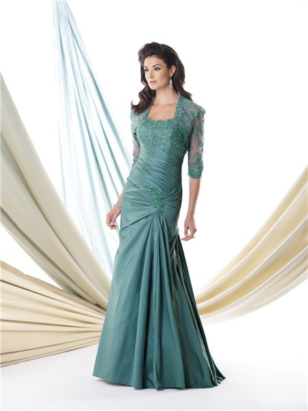 Mermaid Dropped Waist Green Taffeta Lace Mother Of The ...