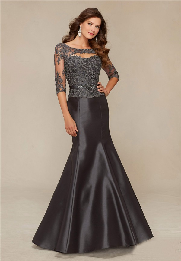 Mermaid Front Cut Out Charcoal Grey Satin Lace Beaded