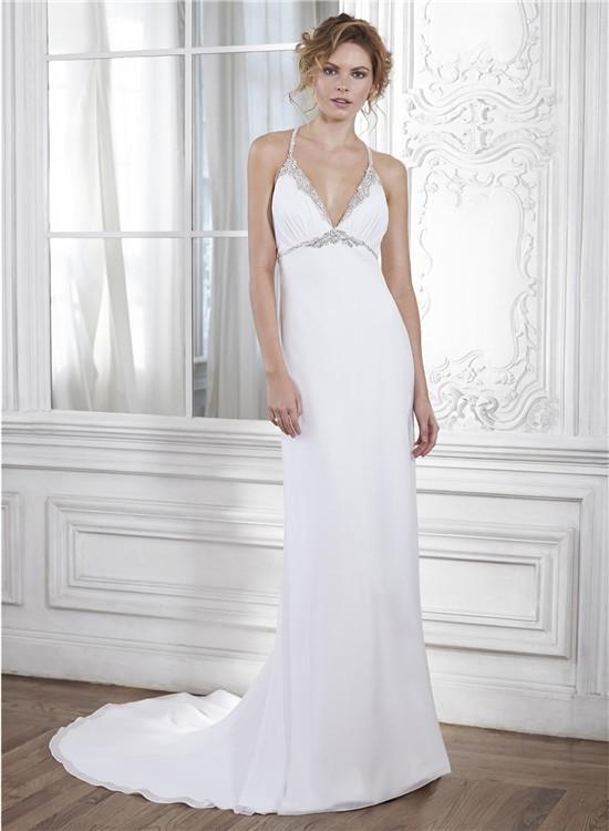 Mermaid Halter Empire Waist Keyhole Back Chiffon Crystal Beaded Wedding Dress
