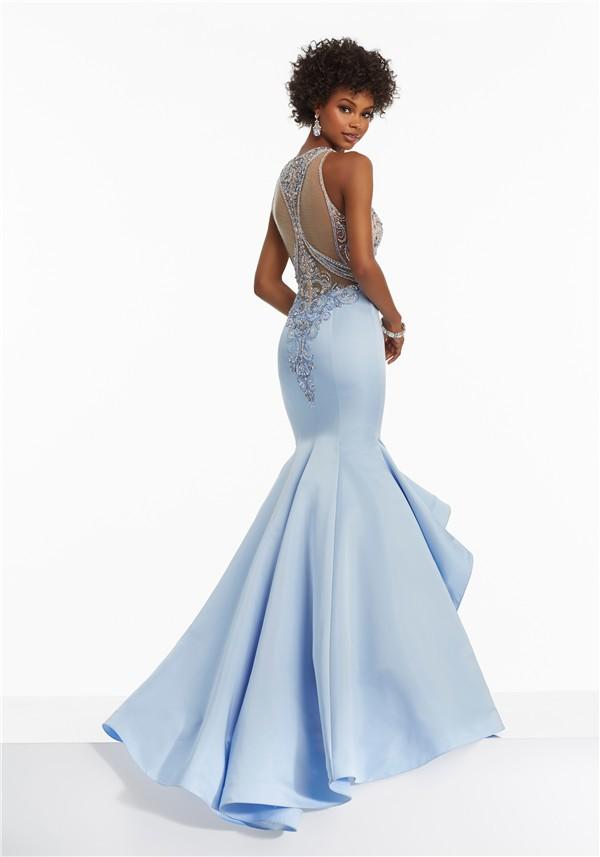 High neck plus size prom dress