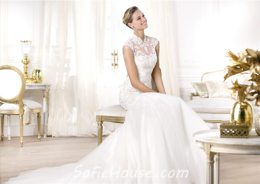 Mermaid High Neck See Through Tulle Beaded Lace Wedding Dress With Collar