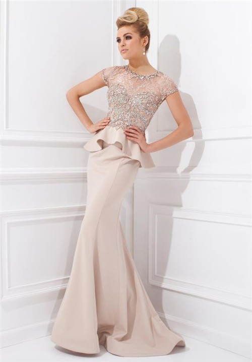 Mermaid Scoop Neck Cap Sleeve Champagne Chiffon Beaded