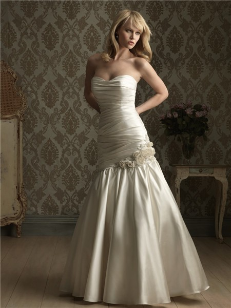 Mermaid Strapless Corset Back Ruched Satin Wedding Dress