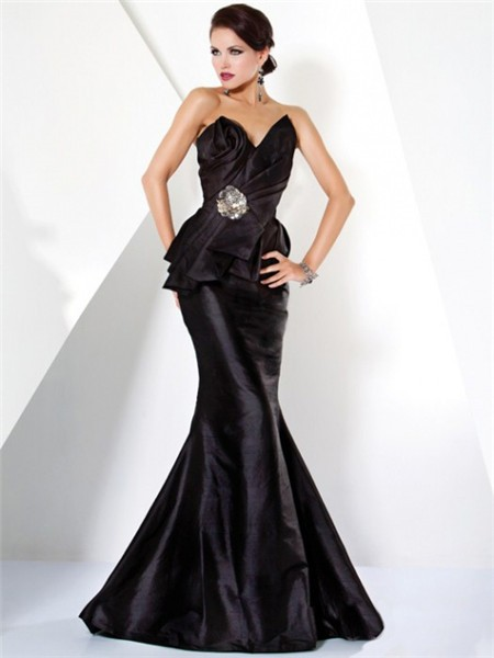 Mermaid Strapless Long Black Haute Couture Evening Dress