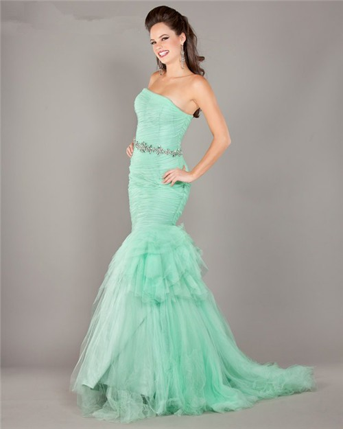 Mermaid Strapless Mint Green Tulle Ruched Prom Dress With