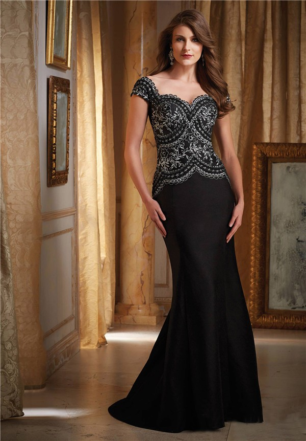 Mermaid Sweetheart Cap Sleeve Black Satin Embroidery
