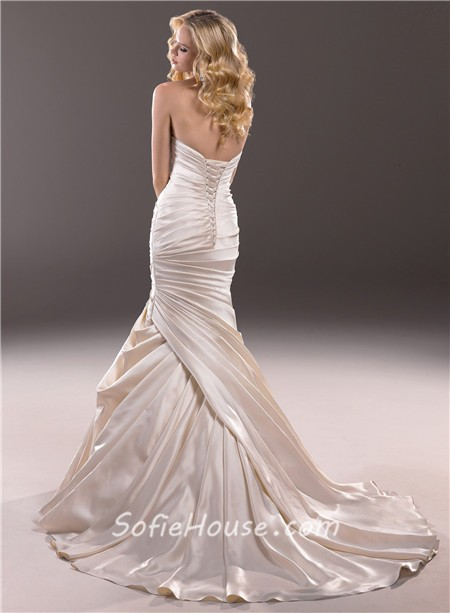 Mermaid Sweetheart Champagne Satin Fit And Flare Wedding