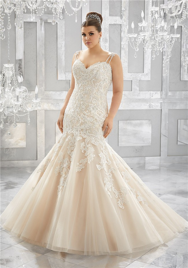 Mermaid Sweetheart Champagne Tulle Lace Plus Size Wedding ...