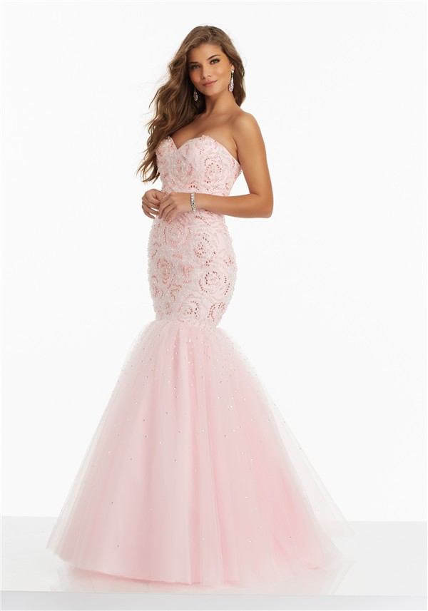Mermaid Sweetheart Corset Back Light Pink Tulle Floral