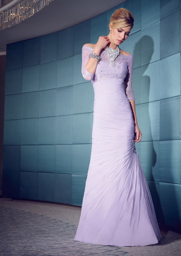 Mermaid Sweetheart Lavender Chiffon Ruched Evening Dress