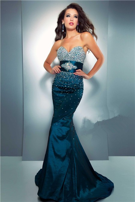 Mermaid Sweetheart Long Dark Navy Blue Taffeta Beaded Prom