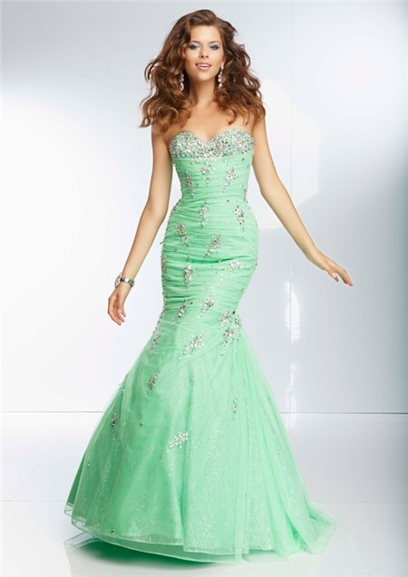 Mermaid Sweetheart Long Green Organza Glitter Beaded Prom