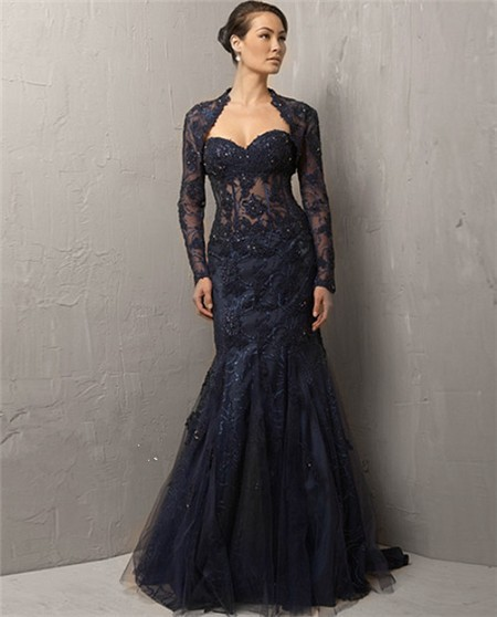 Mermaid Sweetheart Long Navy Blue Lace Beaded Evening