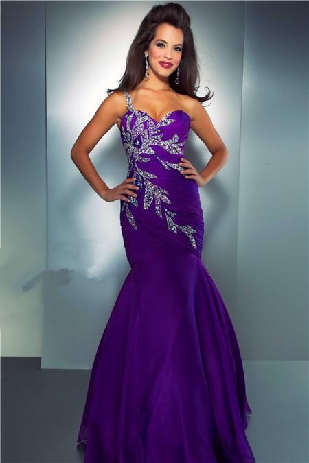 Mermaid Sweetheart One Strap Purple Organza Beaded Prom