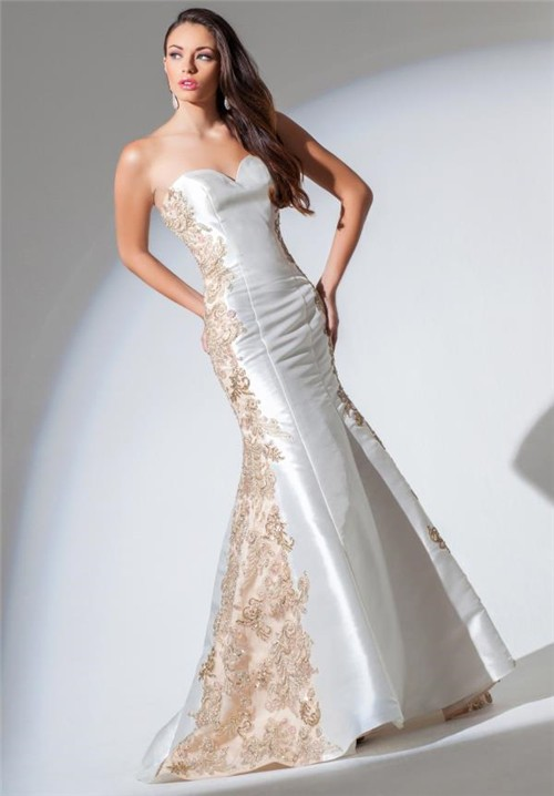 Mermaid Sweetheart White Satin Gold Applique Lace Beaded