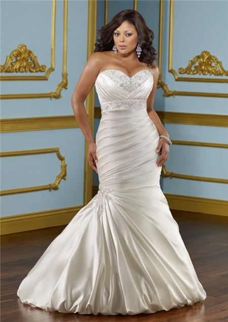 Mermaid Trumpet Sweetheart Empire Satin Ruched Plus Size