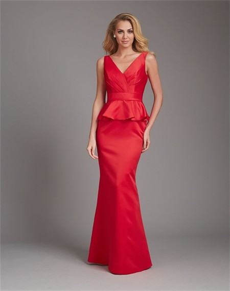Mermaid V Neck Low Back Long Red Satin Peplum Wedding
