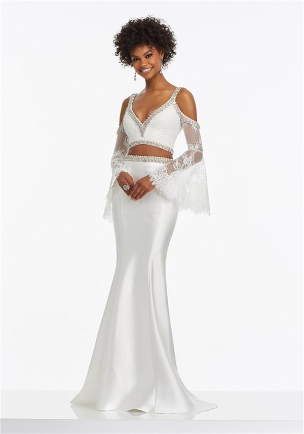 Mermaid V Neck Two Piece White Satin Beaded Prom Dress