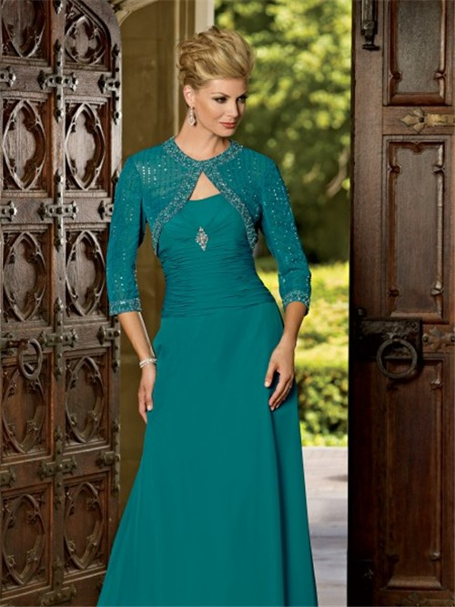 Modern Sweetheart Floor Length Jade Chiffon Mother Of The