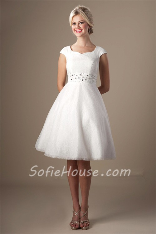 Modest A Line Cap Sleeve Short White Lace Party Prom Dress