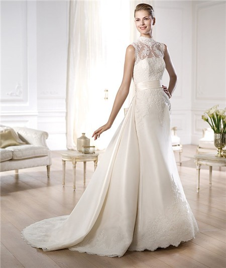 Detachable Trains For Wedding Gowns: Modest A Line High Neck Satin Lace Wedding Dress With