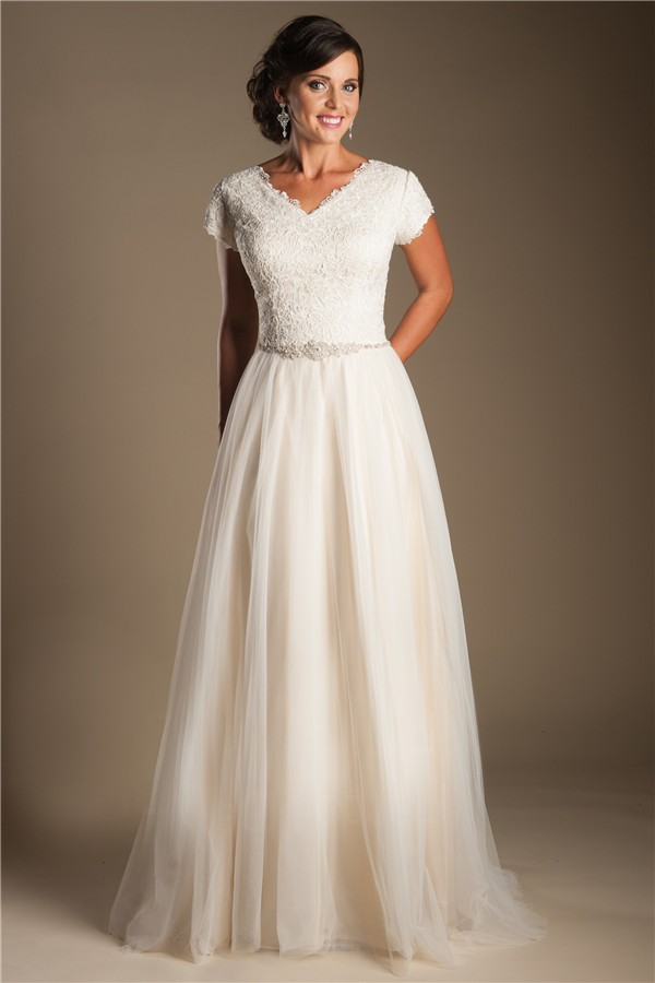 Modest A Line V Neck Champagne Tulle Lace Wedding Dress