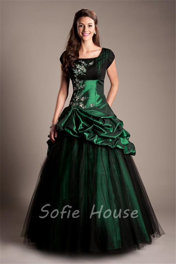 Modest Ball Gown Cap Sleeve Dark Green Taffeta Applique