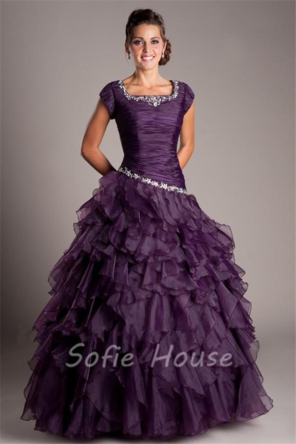 Modest Ball Gown Square Neck Dark Purple Organza Ruffle