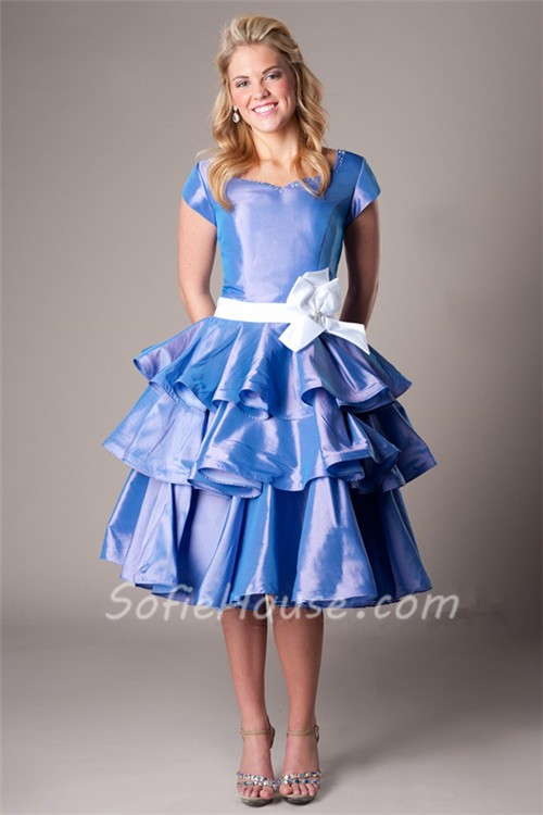 Modest Ball Sweetheart Cap Sleeve Periwinkle Taffeta