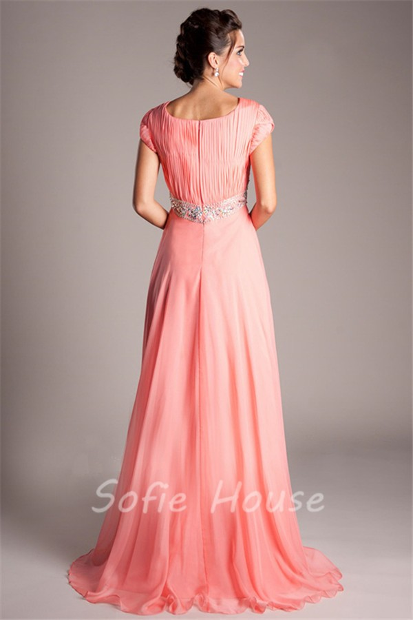 Modest Empire Waist Long Coral Chiffon Beaded Prom Dress