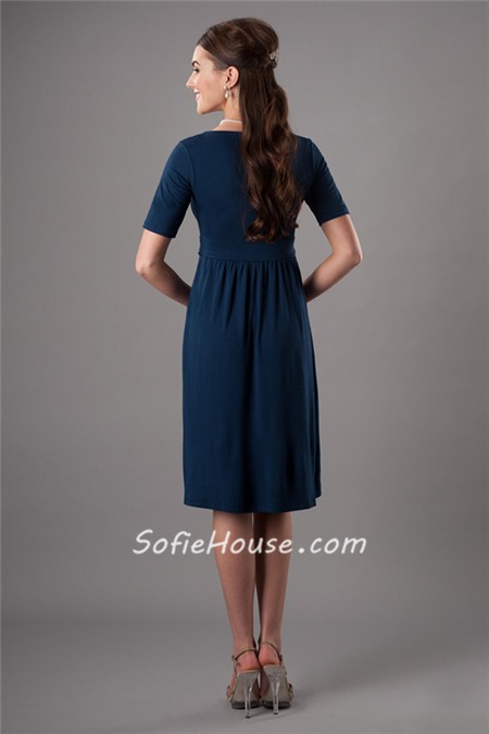 Modest Scoop Neck Short Sleeves Navy Blue Bridesmaid Dress