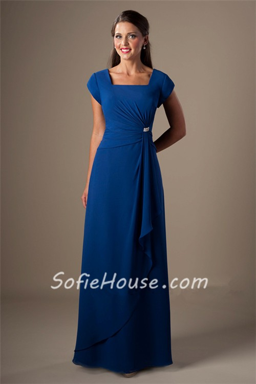 Modest Sheath Square Neck Cap Sleeve Royal Blue Chiffon
