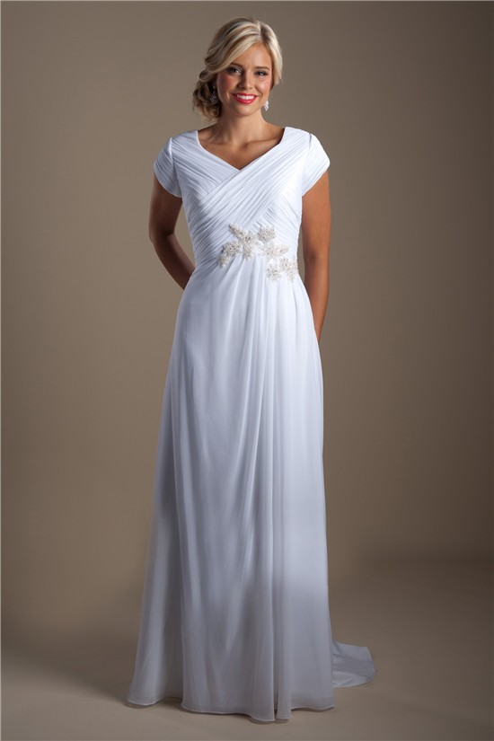 Sheath Wedding Dress Cap Sleeves