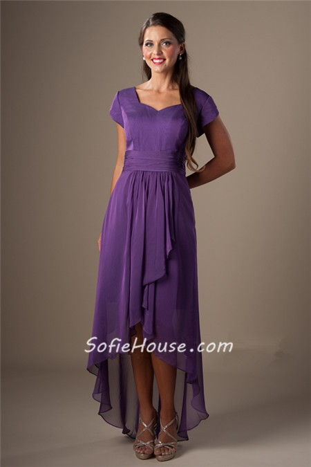 Modest Sweetheart Neckline Purple Chiffon High Low