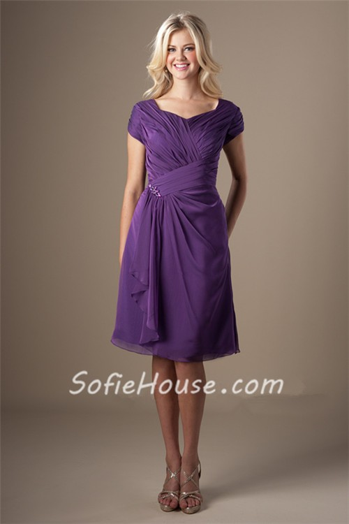 Modest Sweetheart Short Sleeves Purple Chiffon Ruched