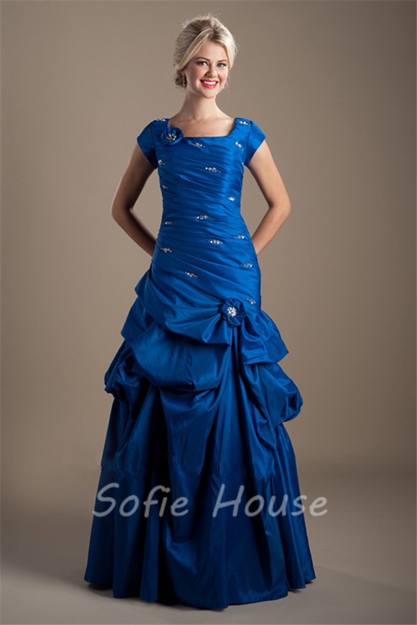 Modest Trumpet Square Neck Cap Sleeve Royal Blue Taffeta