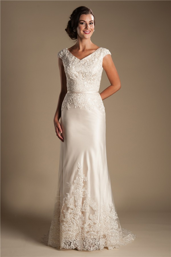 wedding dresses with short sleeves modest v neck cap sleeve champagne satin lace wedding 9435