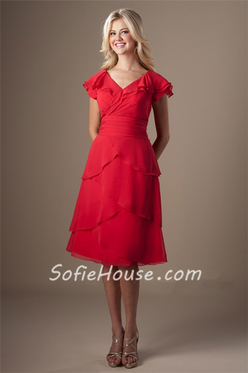 Modest V Neck Red Chiffon Layered Ruffles Short Party