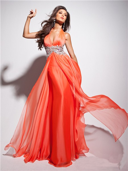 New Flowy Halter Floor Length Coral Chiffon Evening Prom