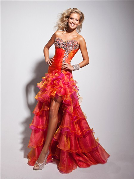 New High Low Sweetheart Long Orange Multi Color Prom Dress