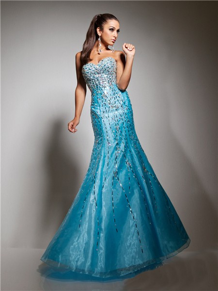 New Mermaid Sweetheart Long Blue Sparkly Evening Prom