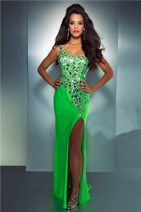 One Shoulder See Through Back Long Neon Green Chiffon