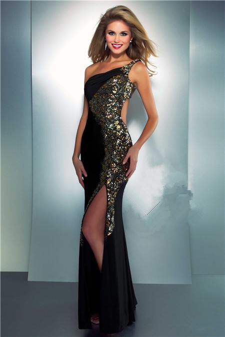 One Shoulder Side Cut Out Slit Long Black Chiffon Gold