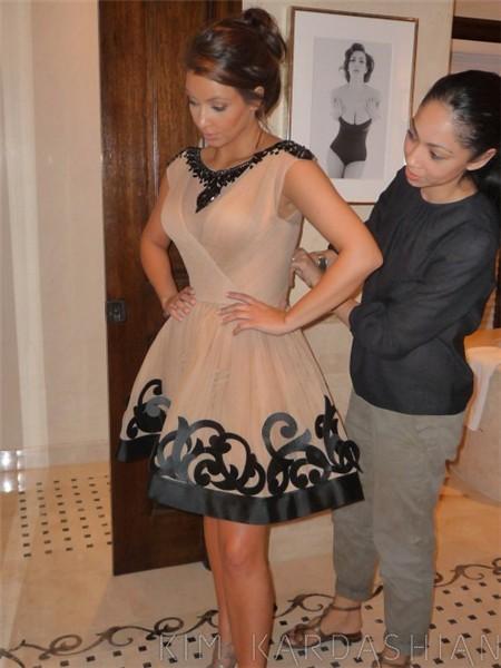 Pretty A Line Short Kim Kardashian Champagne Dress With