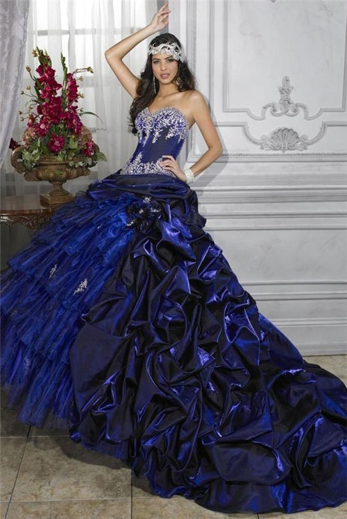 Pretty Ball Gown Royal Blue Taffeta Quinceanera Dress With
