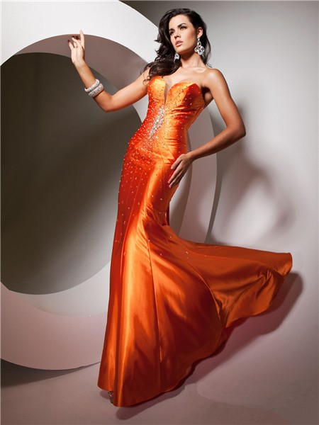 Pretty Mermaid Sweetheart Long Neon Orange Silk Evening