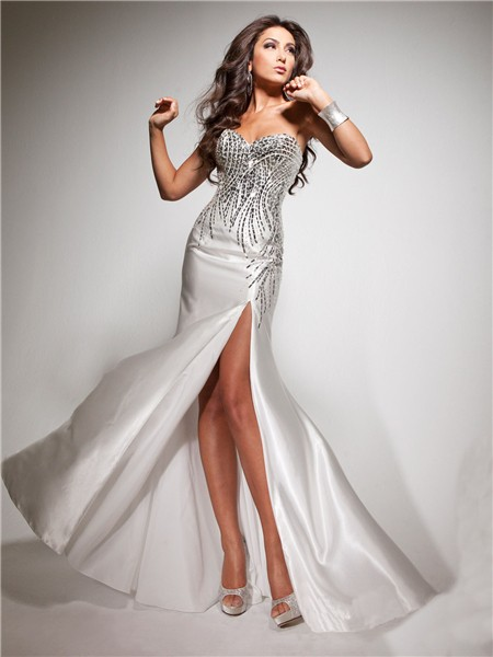 Pretty Sheath Sweetheart Long White Silk Party Prom Dress