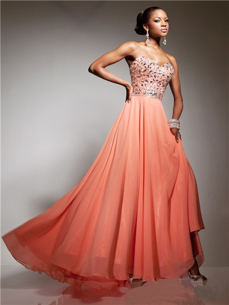 Pretty Sweetheart Long Coral Chiffon Beaded Crystals Party